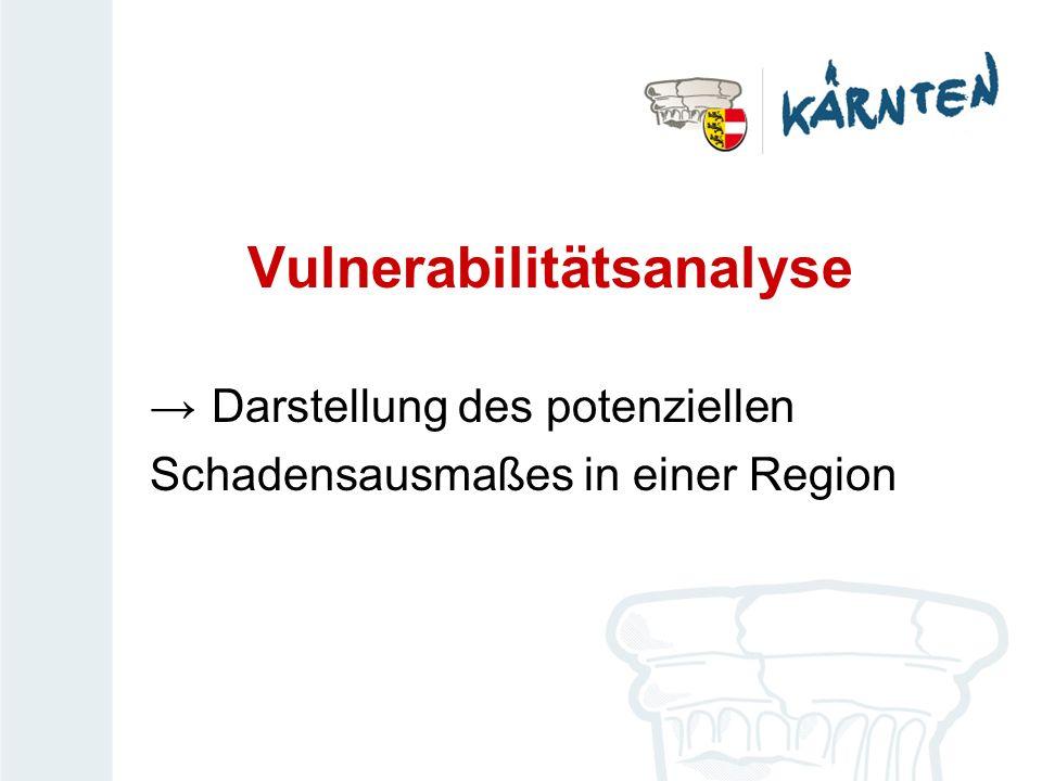 Vulnerabilitätsanalyse Darstellung des potenziellen Schadensausmaßes in einer Region