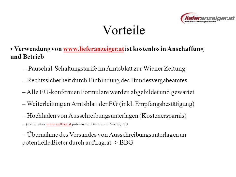 Vorteile Verwendung von www.lieferanzeiger.at ist kostenlos in Anschaffung und Betriebwww.lieferanzeiger.at – Pauschal-Schaltungstarife im Amtsblatt z