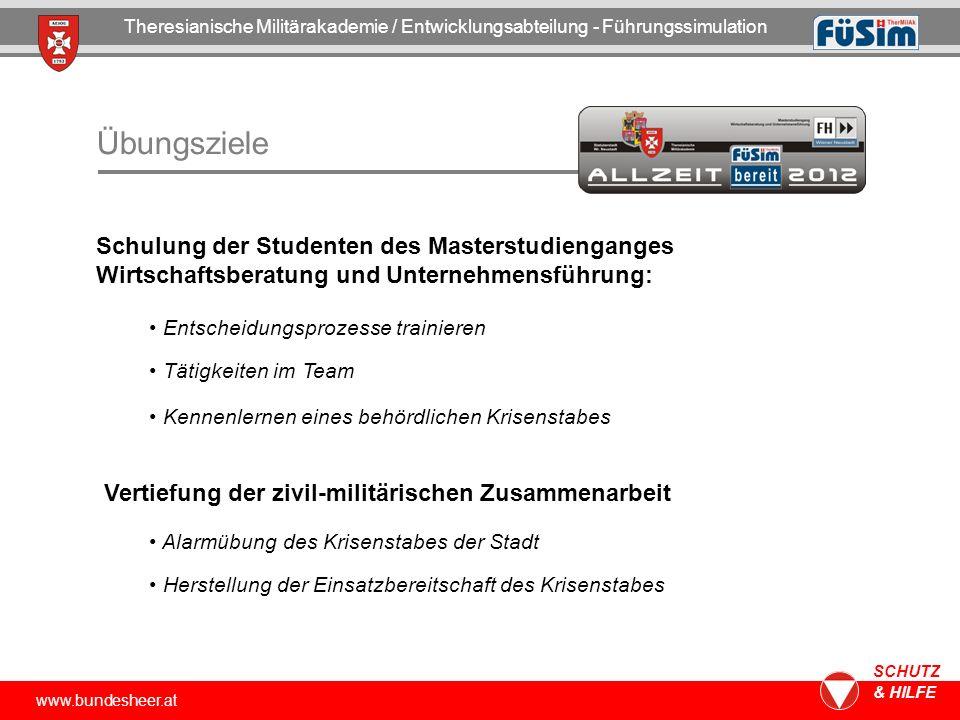 www.bundesheer.at SCHUTZ & HILFE Übungsziele Theresianische Militärakademie / Entwicklungsabteilung - Führungssimulation Schulung der Studenten des Ma