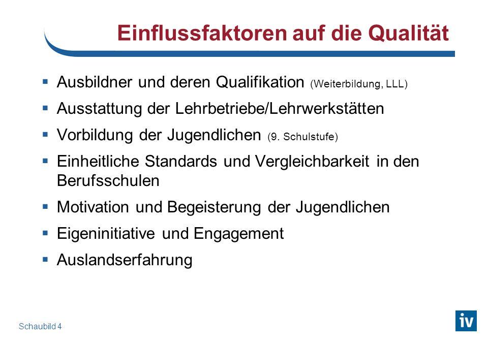 Einflussfaktoren auf die Qualität Ausbildner und deren Qualifikation (Weiterbildung, LLL) Ausstattung der Lehrbetriebe/Lehrwerkstätten Vorbildung der