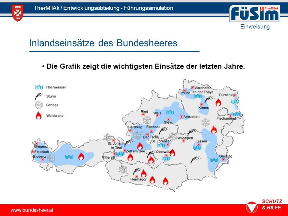 www.bundesheer.at SCHUTZ & HILFE TherMilAk / Entwicklungsabteilung - Führungssimulation Einweisung Inlandseinsätze des Bundesheeres Die Grafik zeigt die wichtigsten Einsätze der letzten Jahre.