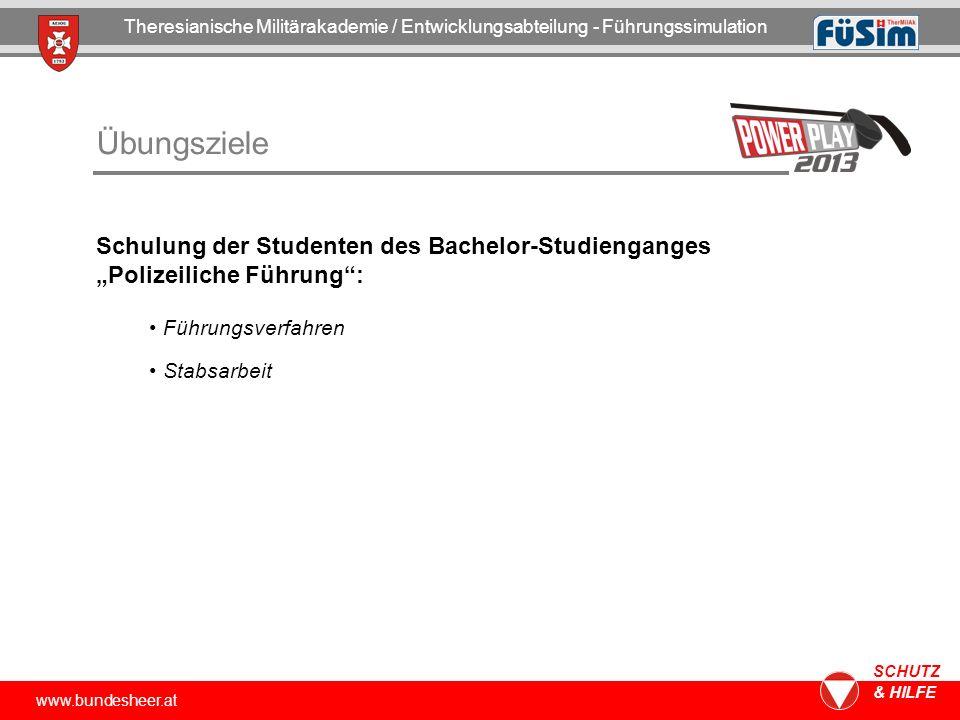 www.bundesheer.at SCHUTZ & HILFE Übungsziele Theresianische Militärakademie / Entwicklungsabteilung - Führungssimulation Schulung der Studenten des Ba