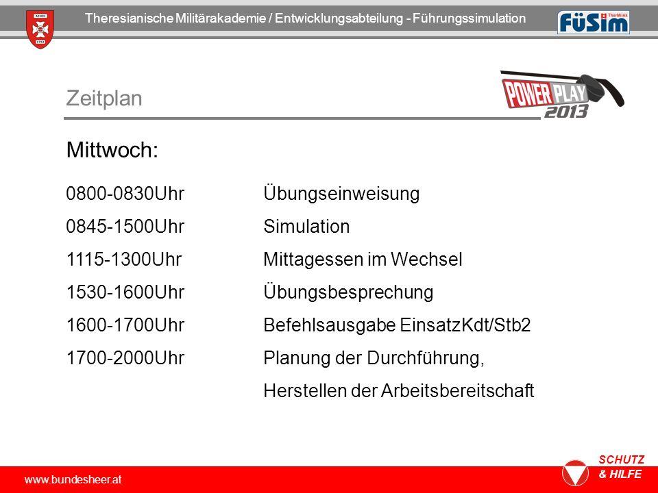 www.bundesheer.at SCHUTZ & HILFE Zeitplan Mittwoch: 0800-0830UhrÜbungseinweisung 0845-1500UhrSimulation 1115-1300UhrMittagessen im Wechsel 1530-1600Uh