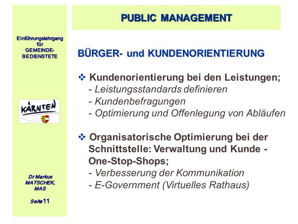 Einführungslehrgang für GEMEINDE- BEDIENSTETE Dr Markus MATSCHEK, MAS Seite 11 BÜRGER- und KUNDENORIENTIERUNG Kundenorientierung bei den Leistungen; -