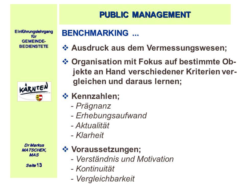 Einführungslehrgang für GEMEINDE- BEDIENSTETE Dr Markus MATSCHEK, MAS Seite 13 BENCHMARKING... Ausdruck aus dem Vermessungswesen; Organisation mit Fok