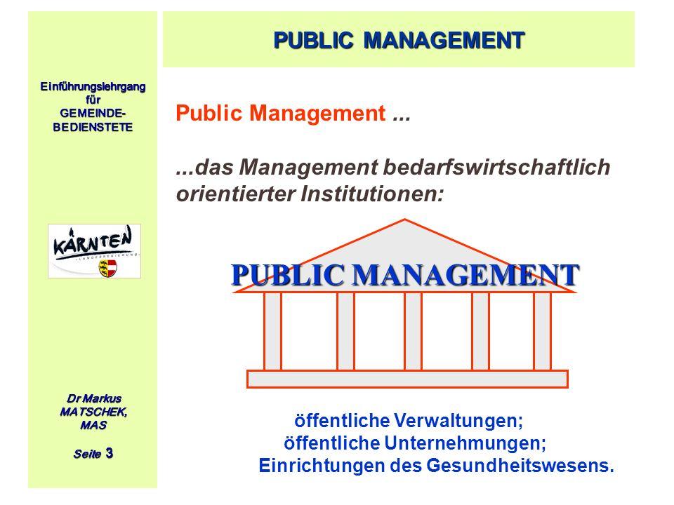 Einführungslehrgang für GEMEINDE- BEDIENSTETE Dr Markus MATSCHEK, MAS Seite 3 Public Management......das Management bedarfswirtschaftlich orientierter