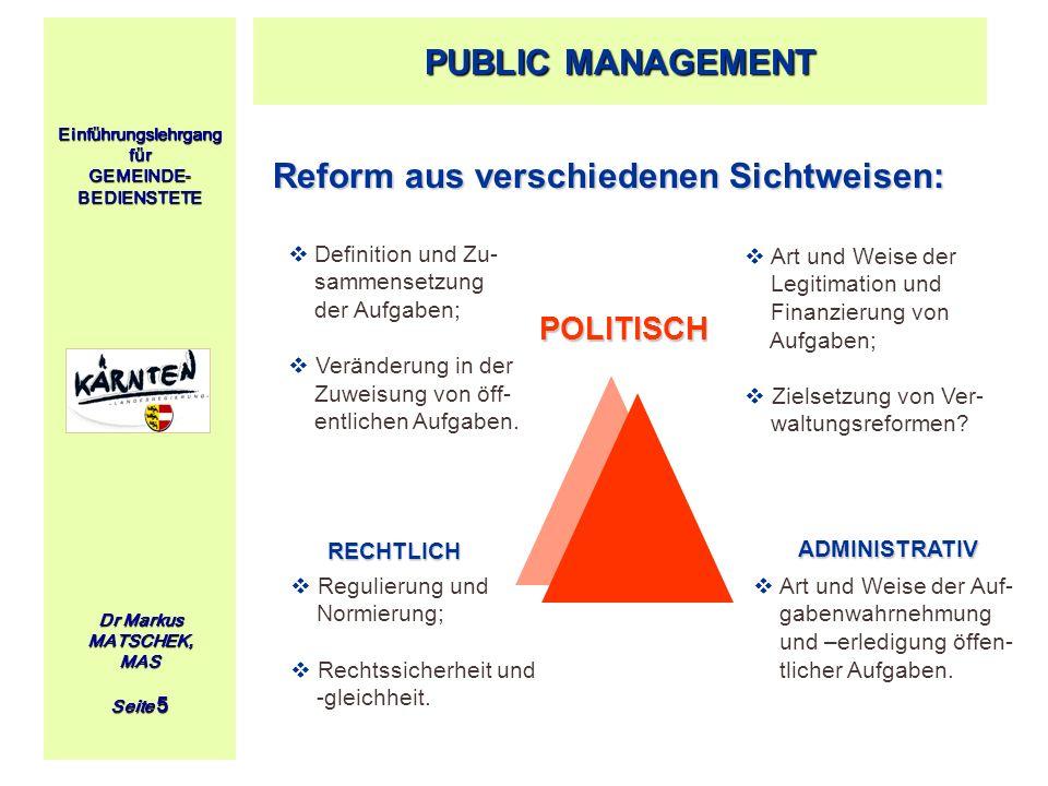 Einführungslehrgang für GEMEINDE- BEDIENSTETE Dr Markus MATSCHEK, MAS Seite 5 Reform aus verschiedenen Sichtweisen: PUBLIC MANAGEMENT POLITISCH POLITI