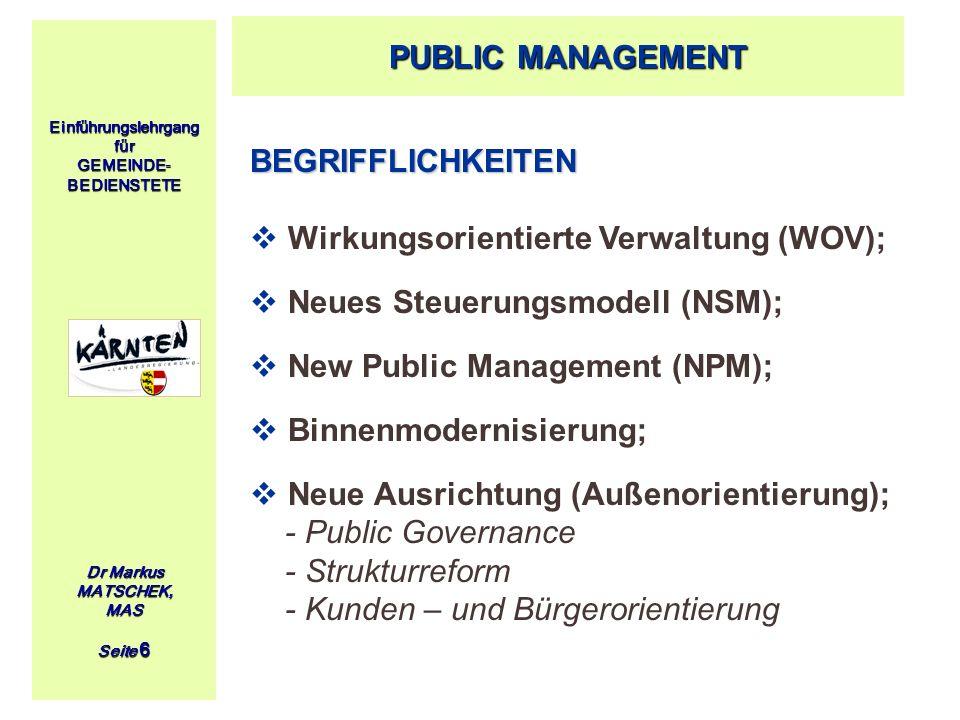 Einführungslehrgang für GEMEINDE- BEDIENSTETE Dr Markus MATSCHEK, MAS Seite 6 BEGRIFFLICHKEITEN Wirkungsorientierte Verwaltung (WOV); Neues Steuerungs