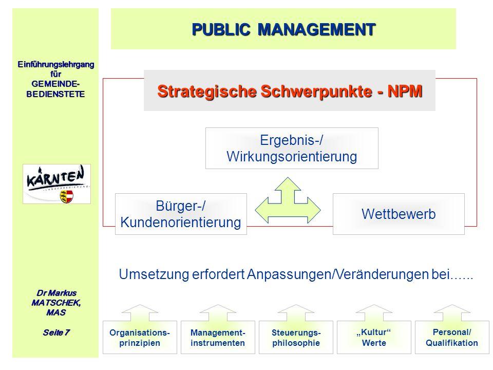 Einführungslehrgang für GEMEINDE- BEDIENSTETE Dr Markus MATSCHEK, MAS Seite 7 PUBLIC MANAGEMENT Strategische Schwerpunkte - NPM Ergebnis-/ Wirkungsori