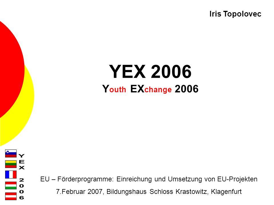 YEX 2006 Y outh EX change 2006 EU – Förderprogramme: Einreichung und Umsetzung von EU-Projekten 7.Februar 2007, Bildungshaus Schloss Krastowitz, Klagenfurt Iris Topolovec