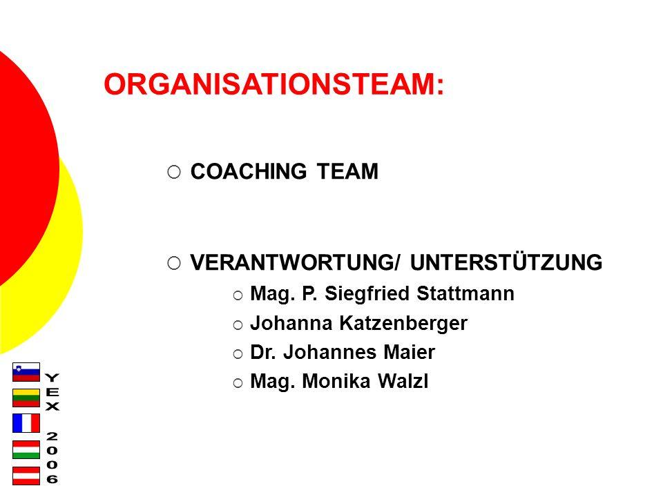 ORGANISATIONSTEAM: COACHING TEAM VERANTWORTUNG/ UNTERSTÜTZUNG Mag.