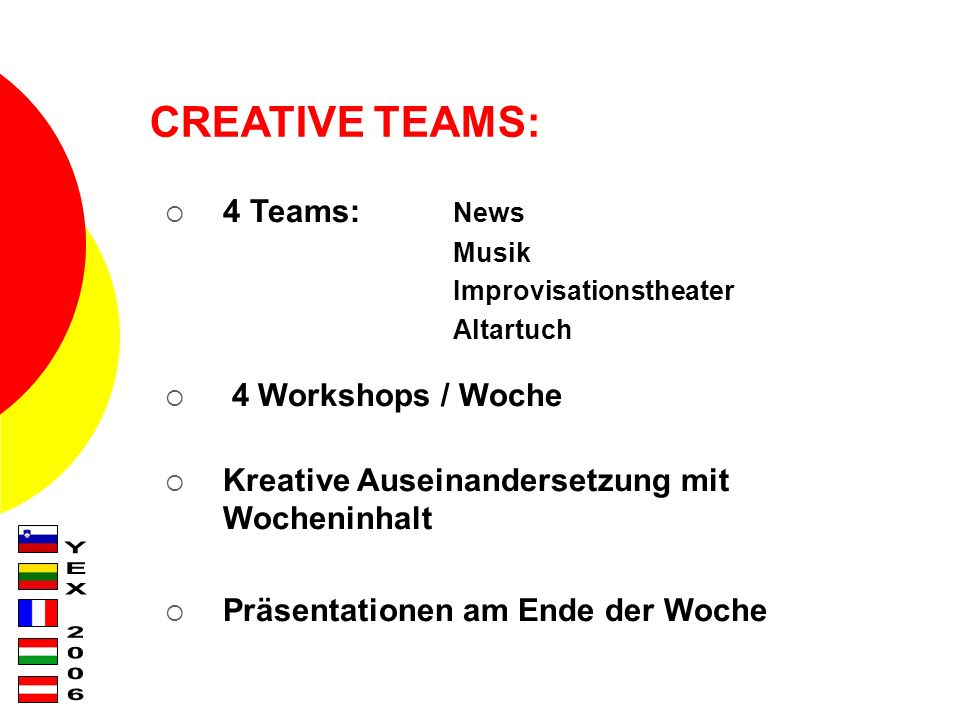 CREATIVE TEAMS: 4 Teams: News Musik Improvisationstheater Altartuch 4 Workshops / Woche Kreative Auseinandersetzung mit Wocheninhalt Präsentationen am Ende der Woche