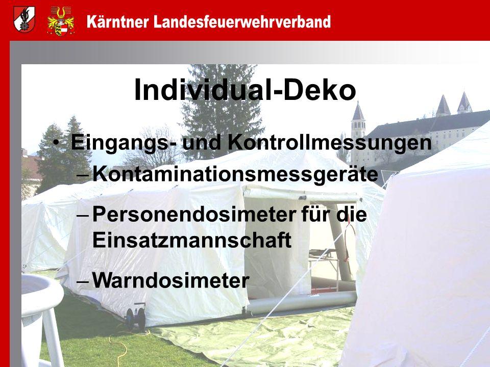 Individual-Deko Eingangs- und Kontrollmessungen –Kontaminationsmessgeräte –Personendosimeter für die Einsatzmannschaft –Warndosimeter