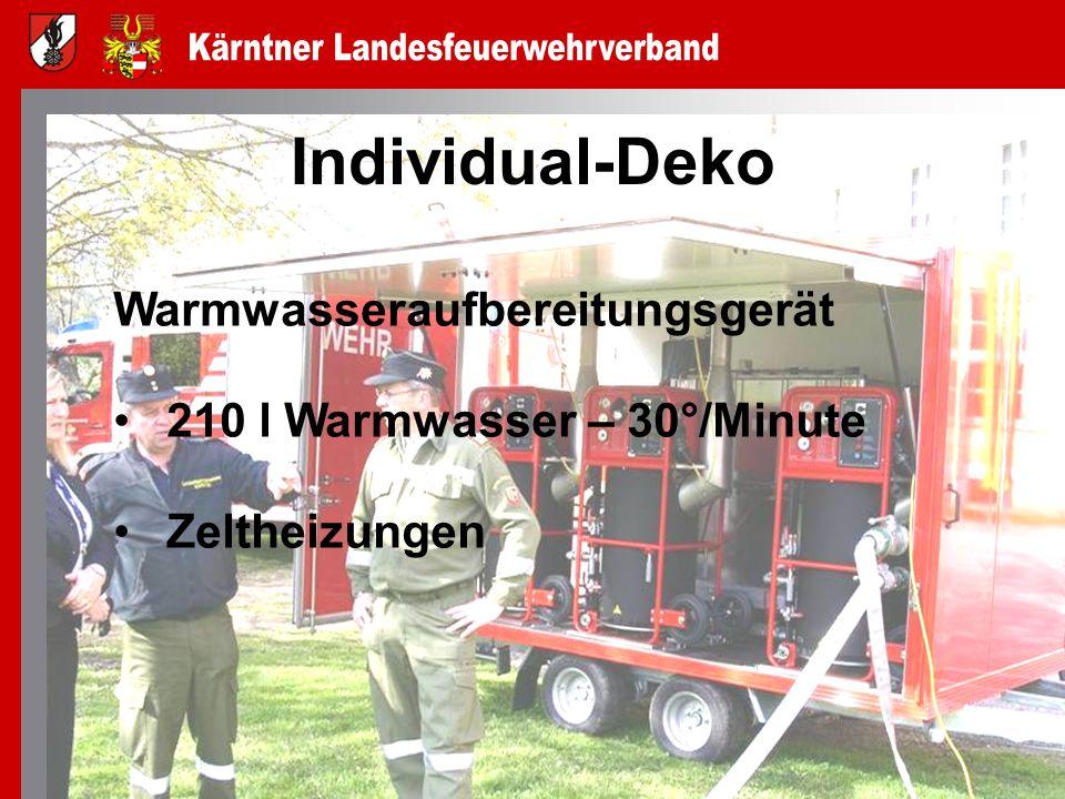 Individual-Deko Warmwasseraufbereitungsgerät 210 l Warmwasser – 30°/Minute Zeltheizungen