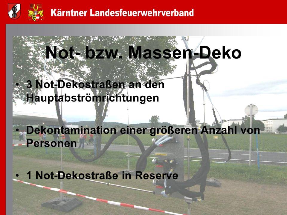 Not- bzw. Massen-Deko 3 Not-Dekostraßen an den Hauptabströmrichtungen Dekontamination einer größeren Anzahl von Personen 1 Not-Dekostraße in Reserve