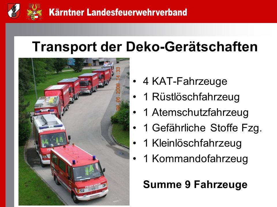 Transport der Deko-Gerätschaften 4 KAT-Fahrzeuge 1 Rüstlöschfahrzeug 1 Atemschutzfahrzeug 1 Gefährliche Stoffe Fzg. 1 Kleinlöschfahrzeug 1 Kommandofah