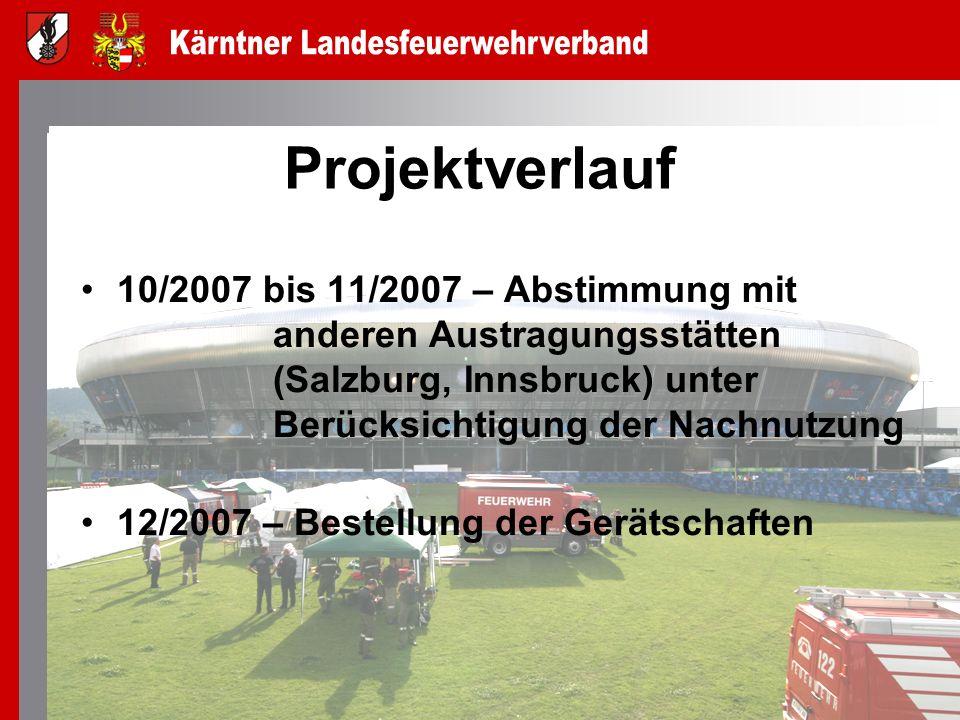 Projektverlauf 10/2007 bis 11/2007 – Abstimmung mit anderen Austragungsstätten (Salzburg, Innsbruck) unter Berücksichtigung der Nachnutzung 12/2007 –