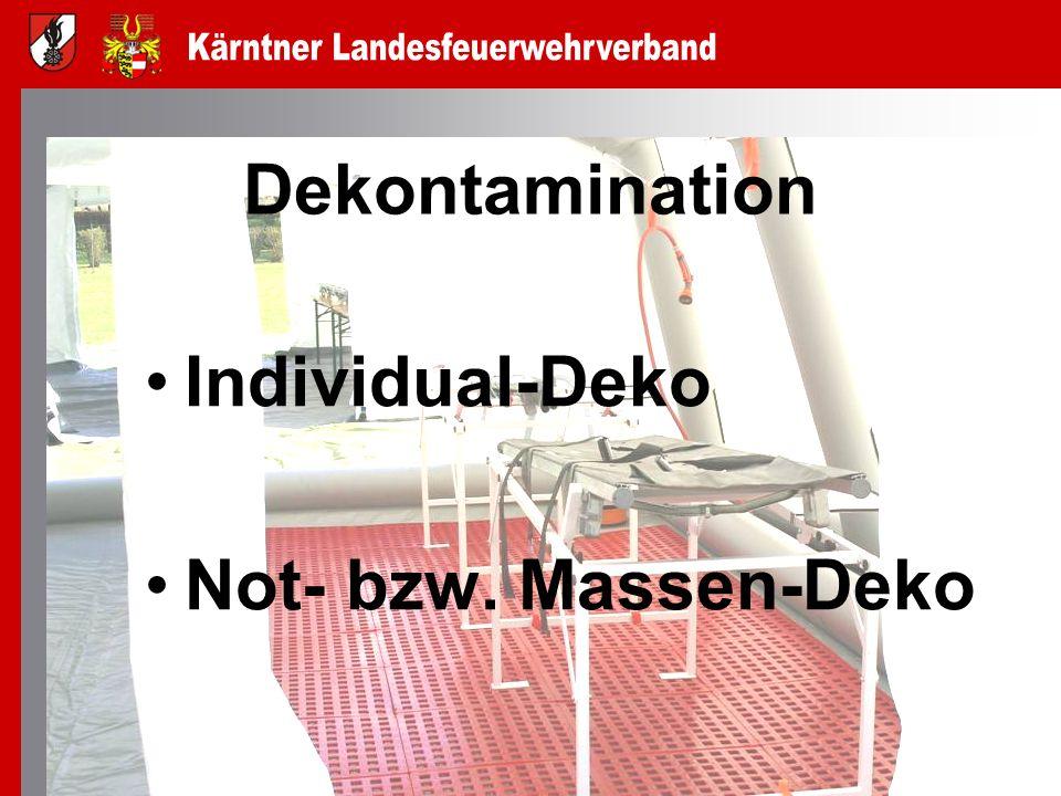 Dekontamination Individual-Deko Not- bzw. Massen-Deko