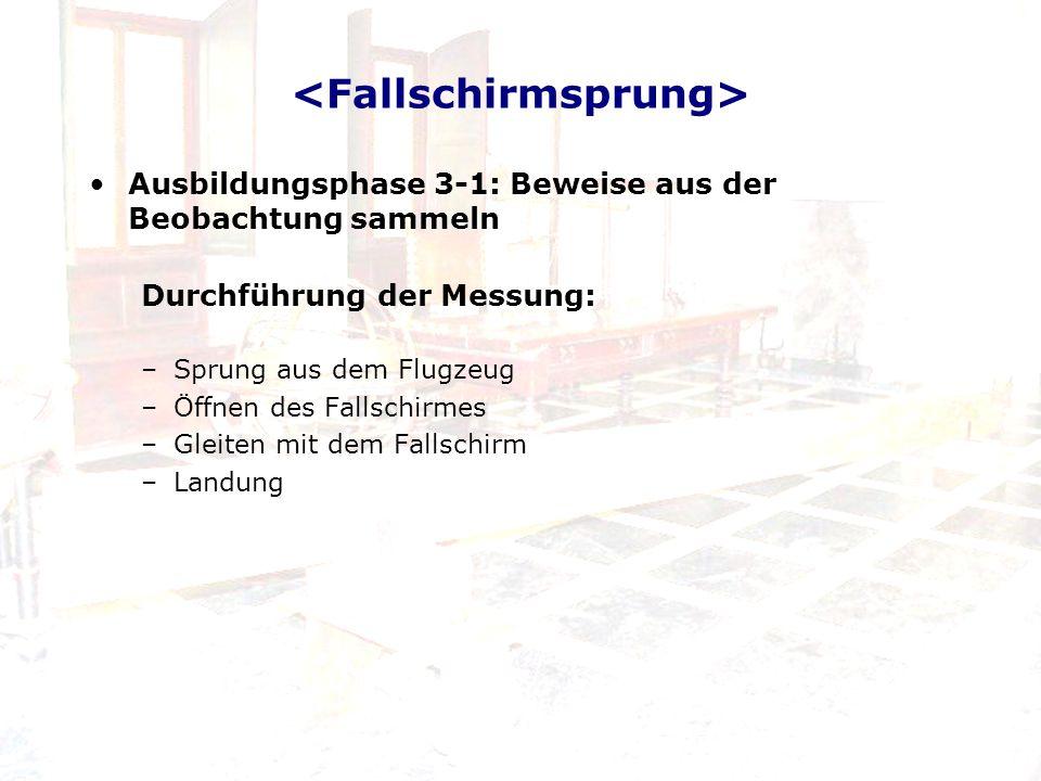 Ausbildungsphase 3-1: Beweise aus der Beobachtung sammeln Durchführung der Messung: –Sprung aus dem Flugzeug –Öffnen des Fallschirmes –Gleiten mit dem