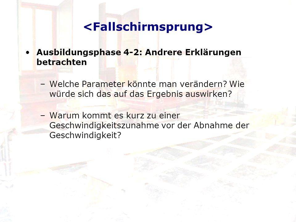 Ausbildungsphase 5-1: Erklärung kommunizieren Aktivitäten –Fallschirmsprung – Aufstellen einer linearen Funktion –Fallschirmsprungquiz –Beantwortung der Fragen auf http://www.leifiphysik.de/web_ph11/umwelt- technik/03fallweltrekord/fallindex.htm http://www.leifiphysik.de/web_ph11/umwelt- technik/03fallweltrekord/fallindex.htm Anfertigung von: Bericht, Protokoll, etc.