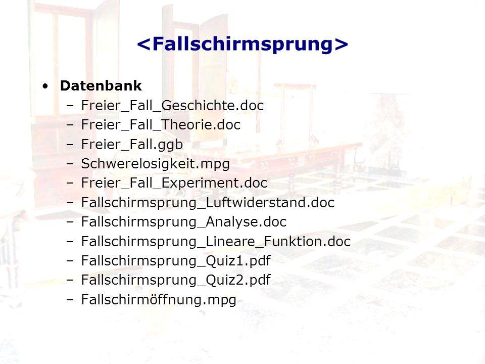 Datenbank –Freier_Fall_Geschichte.doc –Freier_Fall_Theorie.doc –Freier_Fall.ggb –Schwerelosigkeit.mpg –Freier_Fall_Experiment.doc –Fallschirmsprung_Lu