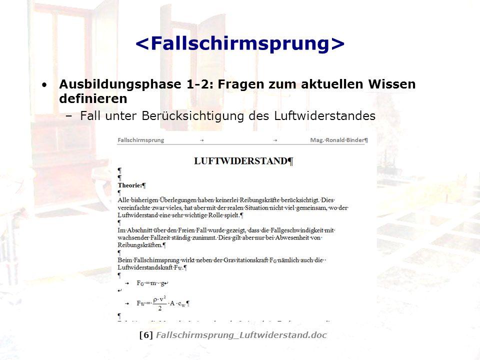Ausbildungsphase 1-2: Fragen zum aktuellen Wissen definieren –Fall unter Berücksichtigung des Luftwiderstandes [6] Fallschirmsprung_Luftwiderstand.doc