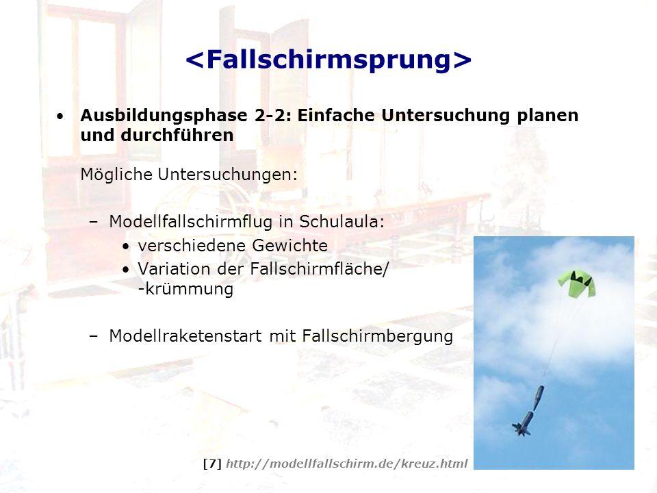 Ausbildungsphase 2-2: Einfache Untersuchung planen und durchführen Mögliche Untersuchungen: –Modellfallschirmflug in Schulaula: verschiedene Gewichte