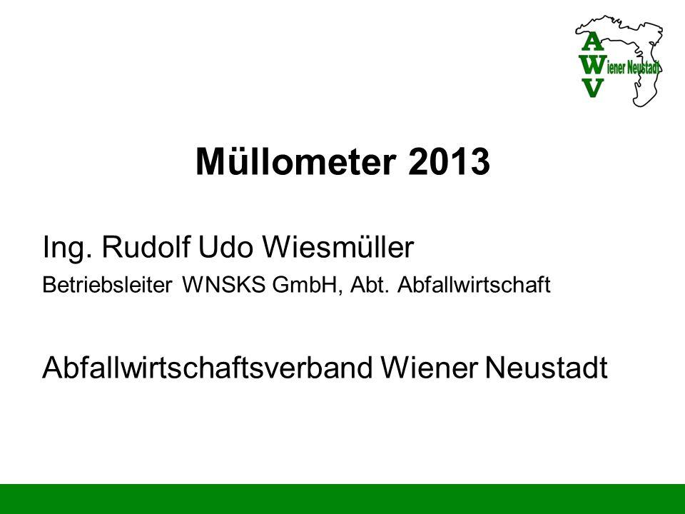 Müllometer 2013 Ing. Rudolf Udo Wiesmüller Betriebsleiter WNSKS GmbH, Abt. Abfallwirtschaft Abfallwirtschaftsverband Wiener Neustadt