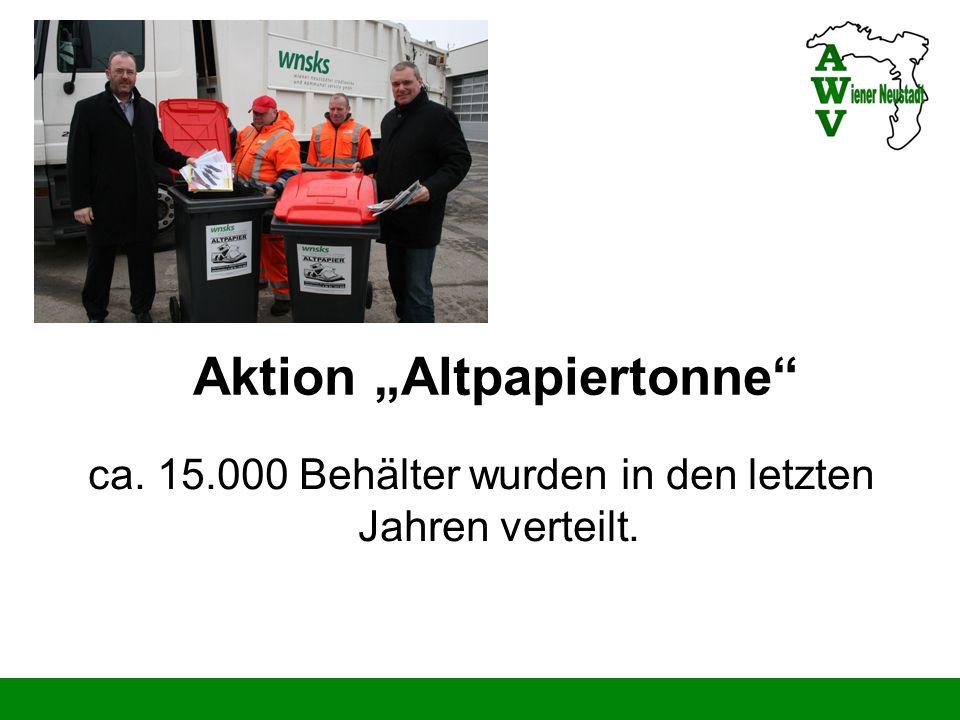 Aktion Altpapiertonne ca. 15.000 Behälter wurden in den letzten Jahren verteilt.