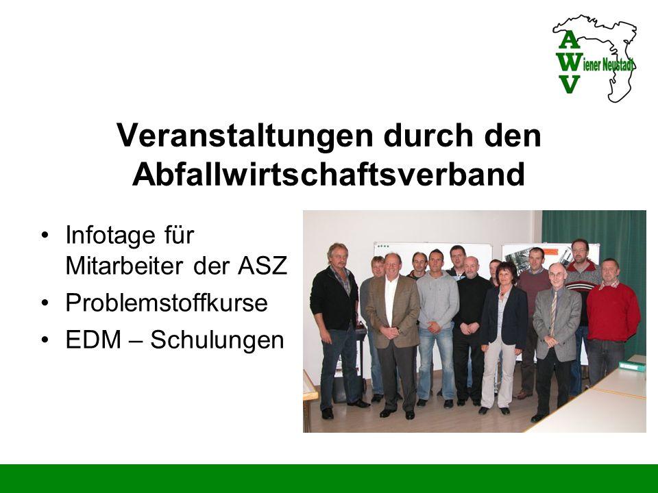Veranstaltungen durch den Abfallwirtschaftsverband Infotage für Mitarbeiter der ASZ Problemstoffkurse EDM – Schulungen