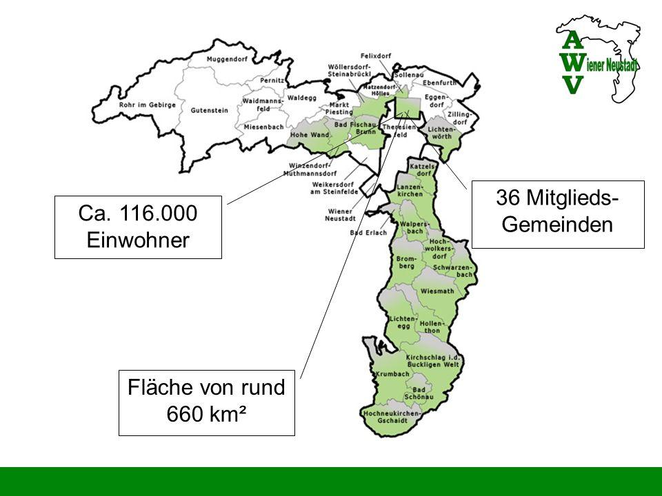 36 Mitglieds- Gemeinden Ca. 116.000 Einwohner Fläche von rund 660 km²