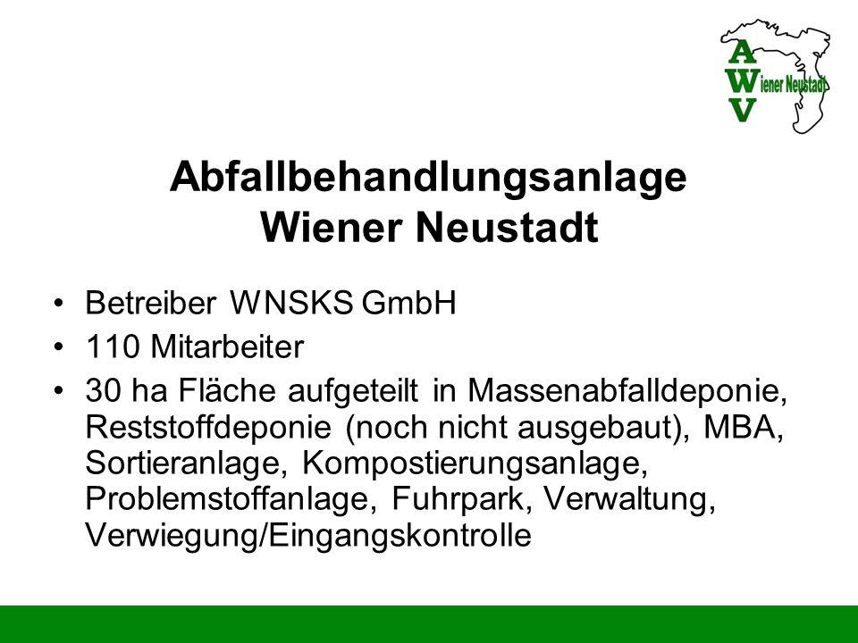Abfallbehandlungsanlage Wiener Neustadt MBA für 24.000 to/a Inputmaterial (Restmüll) Sortieranlage zur Sortierung des Gelben Sackes für 2.500 to/a Inputmaterial Kompostierungsanlage für 12.000 to/a Inputmaterial Zwischenlager für gef.