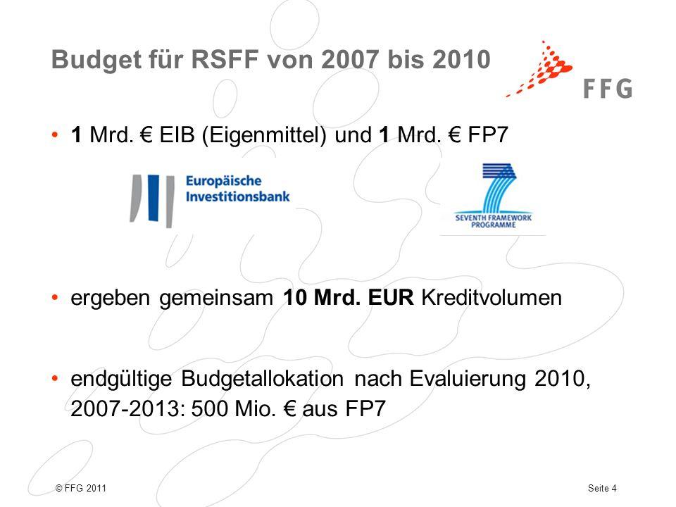 Seite 4© FFG 2011 Budget für RSFF von 2007 bis 2010 1 Mrd.