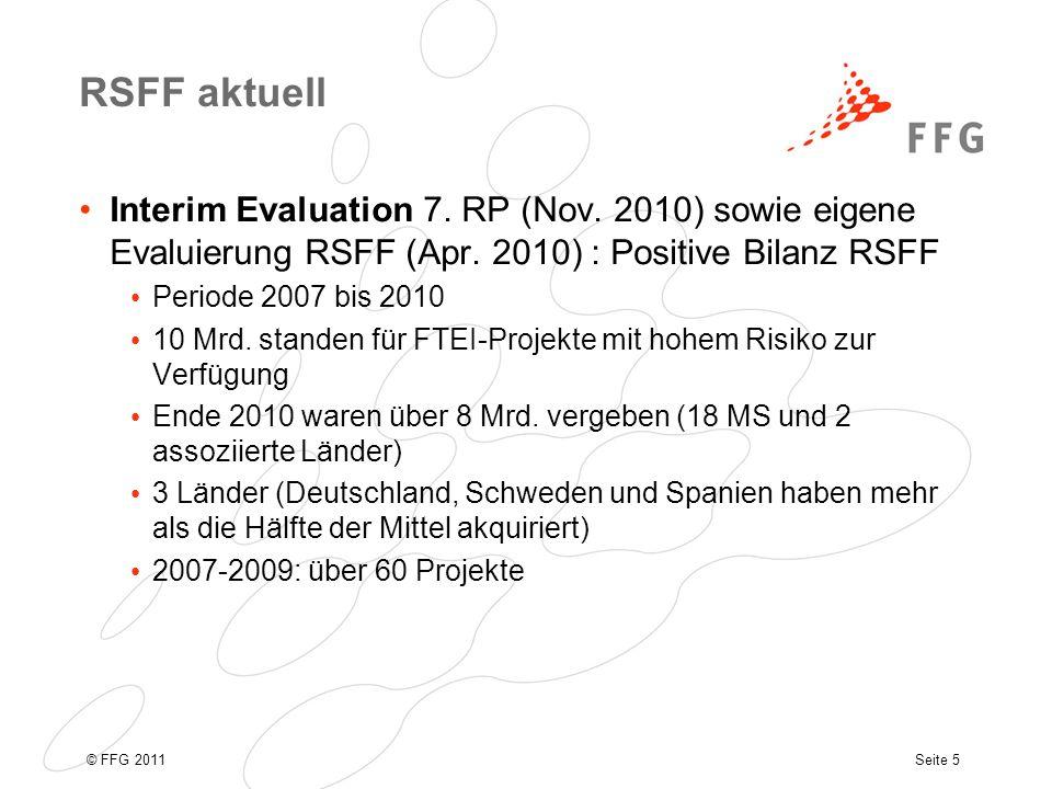 Seite 6© FFG 2011 RSFF Inanspruchnahme Ende 2009