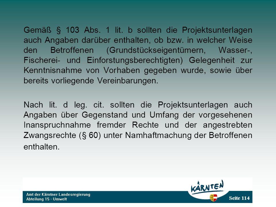 Seite 114 Gemäß § 103 Abs. 1 lit. b sollten die Projektsunterlagen auch Angaben darüber enthalten, ob bzw. in welcher Weise den Betroffenen (Grundstüc
