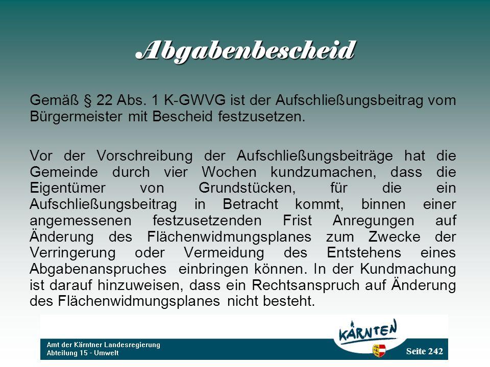 Seite 242 Abgabenbescheid Gemäß § 22 Abs.