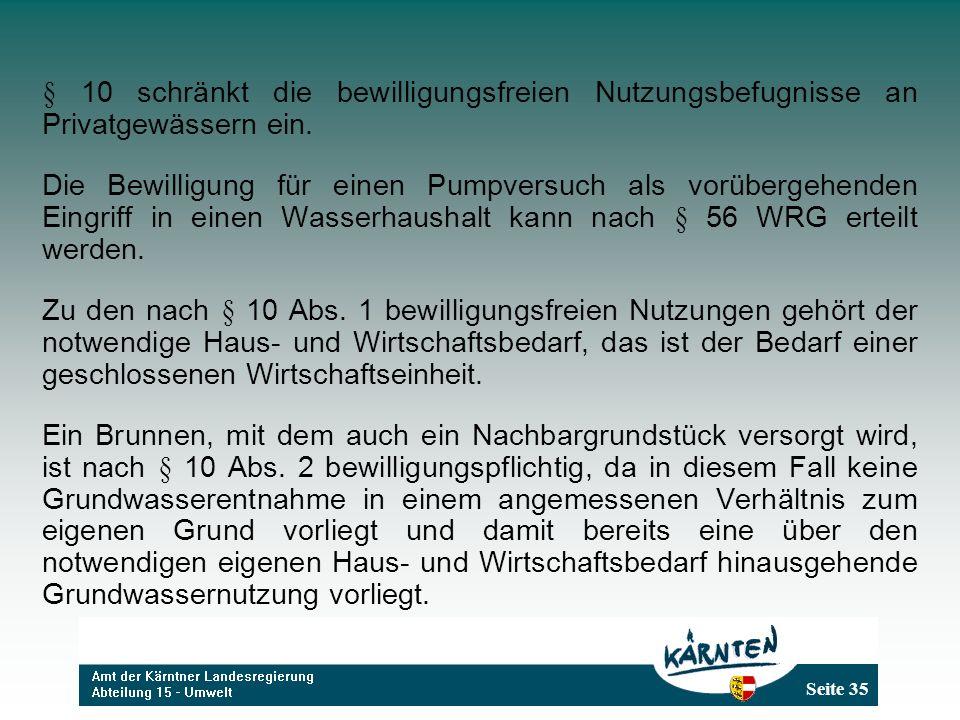 Seite 35 § 10 schränkt die bewilligungsfreien Nutzungsbefugnisse an Privatgewässern ein.