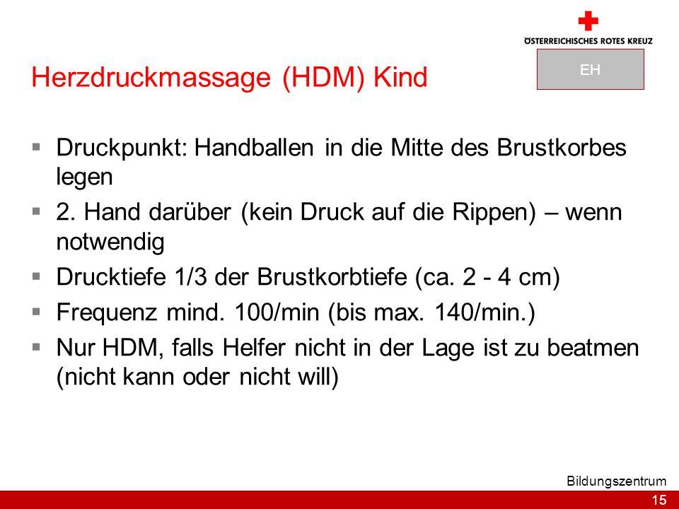 15 Bildungszentrum Herzdruckmassage (HDM) Kind Druckpunkt: Handballen in die Mitte des Brustkorbes legen 2.