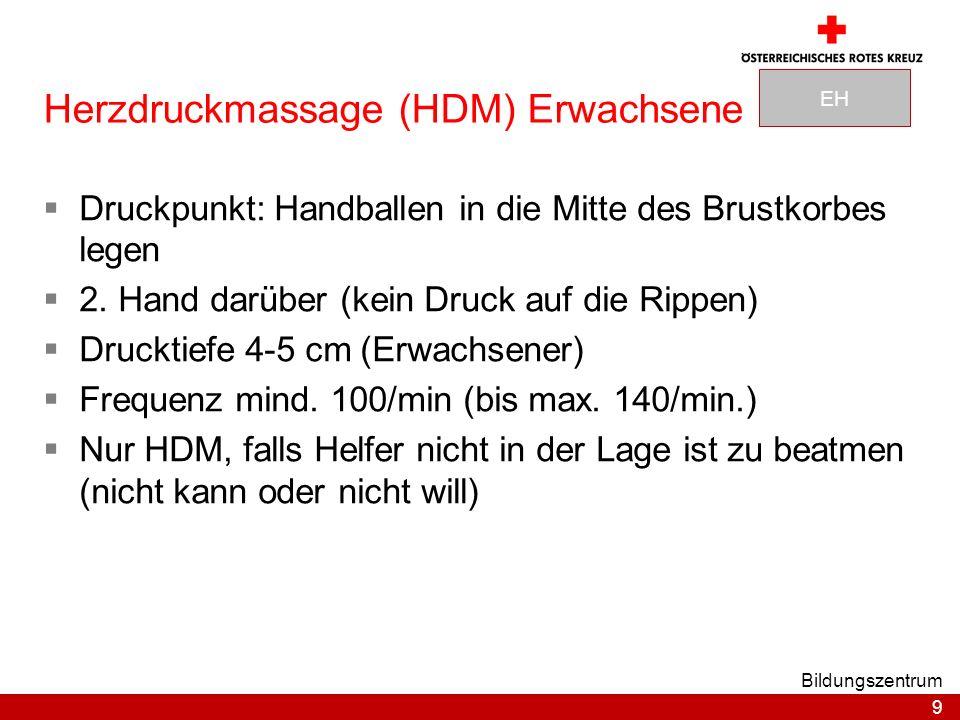 9 Bildungszentrum Herzdruckmassage (HDM) Erwachsene Druckpunkt: Handballen in die Mitte des Brustkorbes legen 2.