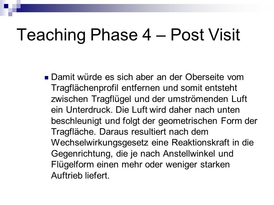 Teaching Phase 4 – Post Visit Damit würde es sich aber an der Oberseite vom Tragflächenprofil entfernen und somit entsteht zwischen Tragflügel und der
