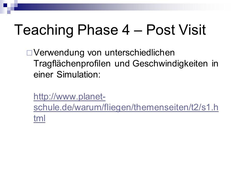 Teaching Phase 4 – Post Visit Verwendung von unterschiedlichen Tragflächenprofilen und Geschwindigkeiten in einer Simulation: http://www.planet- schul