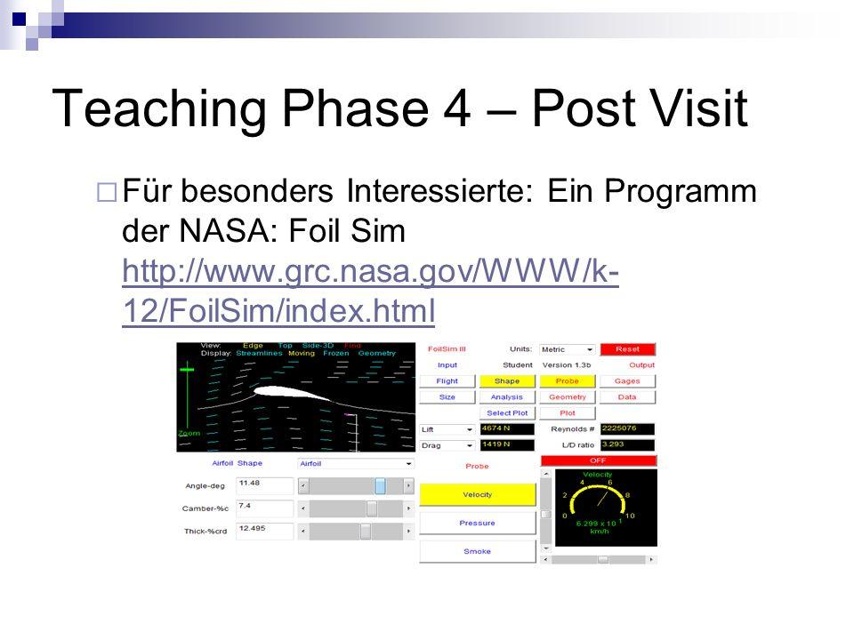 Teaching Phase 4 – Post Visit Für besonders Interessierte: Ein Programm der NASA: Foil Sim http://www.grc.nasa.gov/WWW/k- 12/FoilSim/index.html http:/