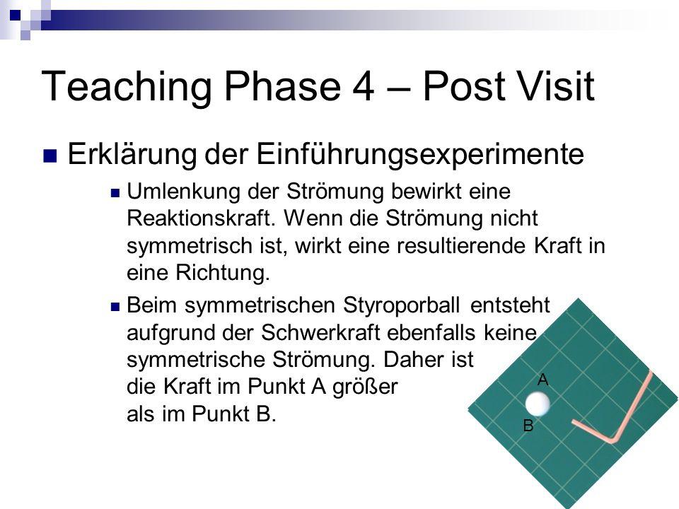Teaching Phase 4 – Post Visit Erklärung der Einführungsexperimente Umlenkung der Strömung bewirkt eine Reaktionskraft. Wenn die Strömung nicht symmetr