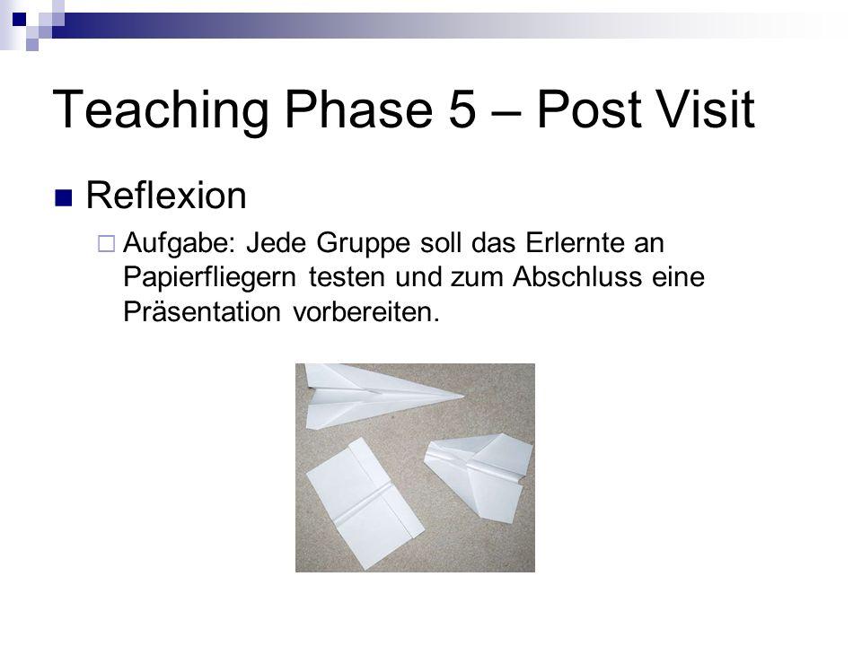 Teaching Phase 5 – Post Visit Reflexion Aufgabe: Jede Gruppe soll das Erlernte an Papierfliegern testen und zum Abschluss eine Präsentation vorbereite