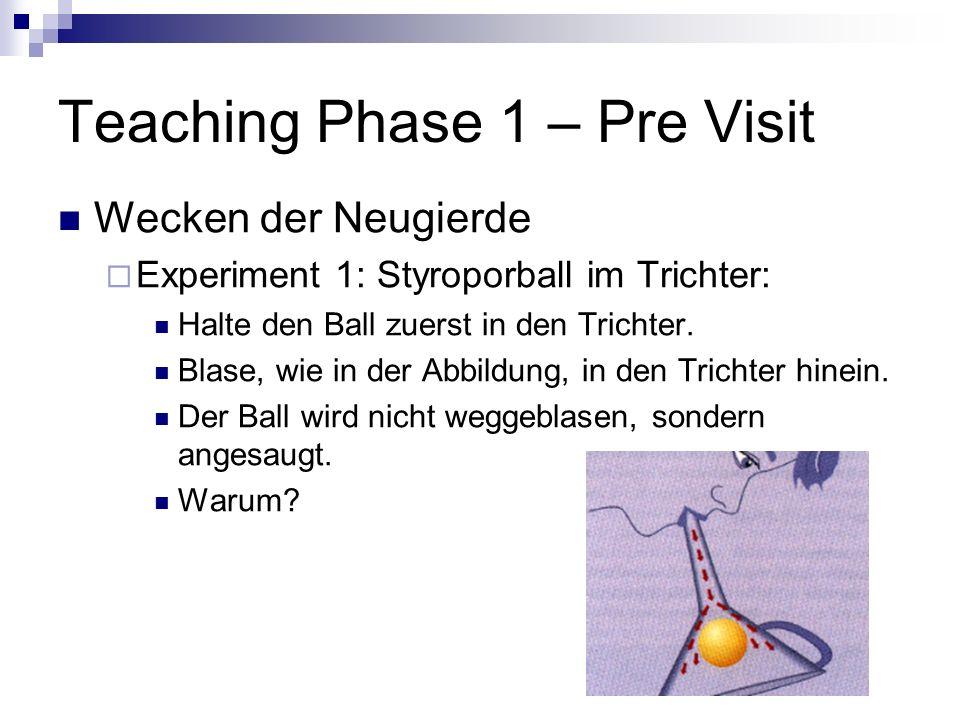 Teaching Phase 1 – Pre Visit Wecken der Neugierde Experiment 1: Styroporball im Trichter: Halte den Ball zuerst in den Trichter. Blase, wie in der Abb
