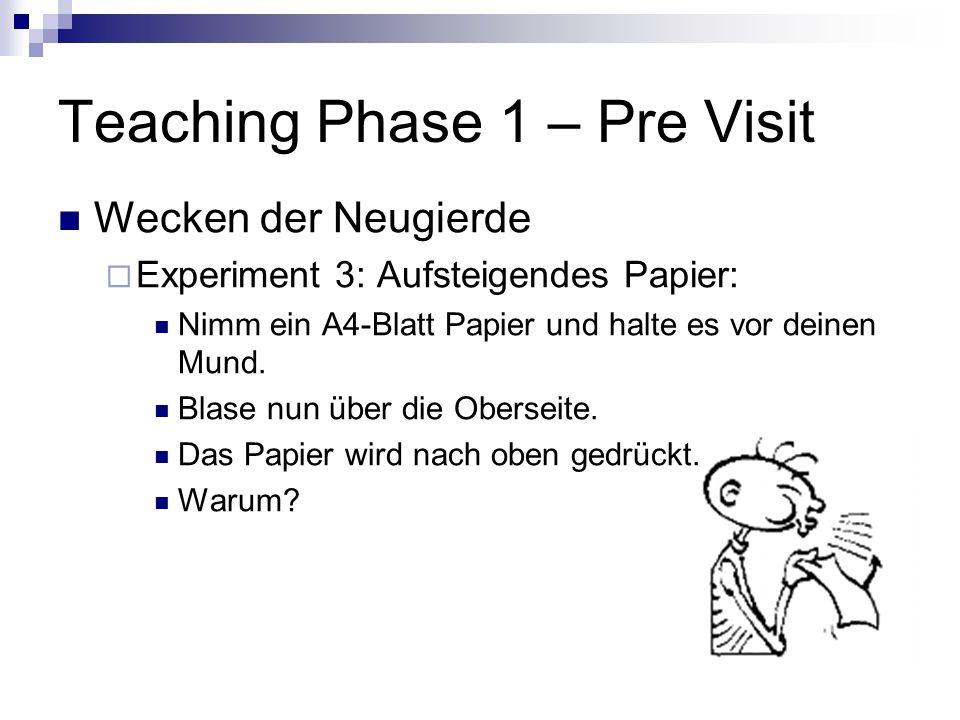 Teaching Phase 1 – Pre Visit Anknüpfen an Vorverständnis Beschreibe folgende dir bereits aus dem Unterricht bekannte Begriffe: Kraft Wechselwirkungsgesetz Rückstoßprinzip Teilchenmodell der Luft Schwerkraft