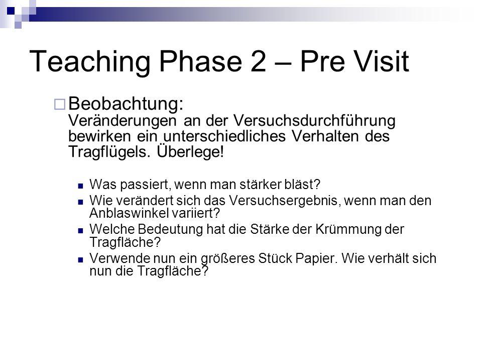 Teaching Phase 2 – Pre Visit Beobachtung: Veränderungen an der Versuchsdurchführung bewirken ein unterschiedliches Verhalten des Tragflügels. Überlege
