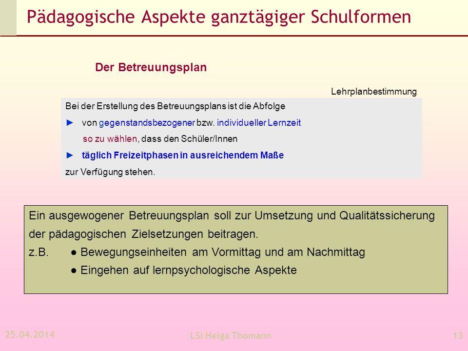 25.04.2014 LSI Helga Thomann13 Pädagogische Aspekte ganztägiger Schulformen Der Betreuungsplan Ein ausgewogener Betreuungsplan soll zur Umsetzung und Qualitätssicherung der pädagogischen Zielsetzungen beitragen.