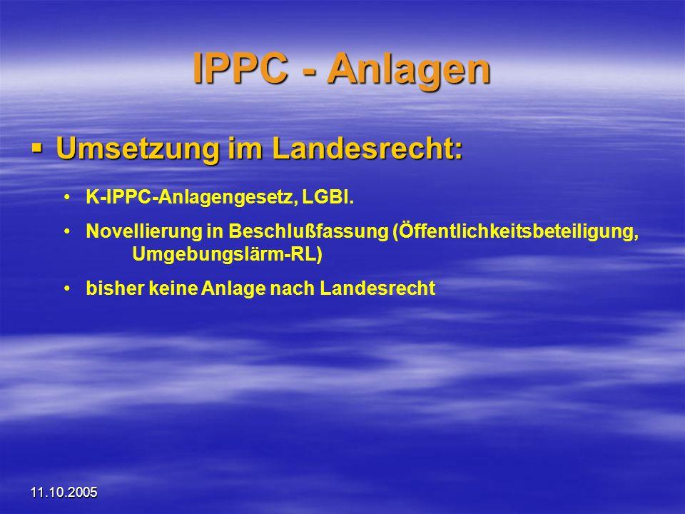 11.10.2005 IPPC - Anlagen Umsetzung im Landesrecht: Umsetzung im Landesrecht: K-IPPC-Anlagengesetz, LGBl. Novellierung in Beschlußfassung (Öffentlichk