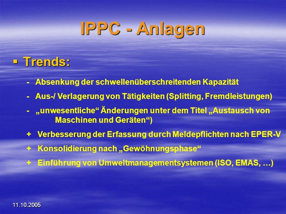11.10.2005 IPPC - Anlagen Trends: Trends: - Absenkung der schwellenüberschreitenden Kapazität - Aus-/ Verlagerung von Tätigkeiten (Splitting, Fremdlei